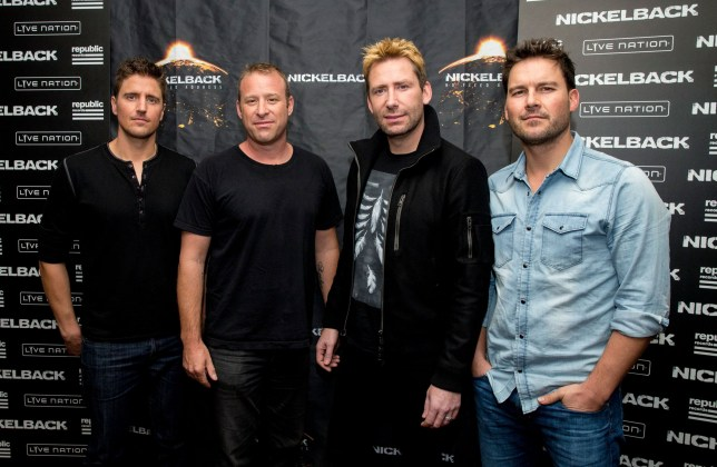 WEST HOLLYWOOD, CA - NOVEMBER 05: (L-R) Daniel Adair, Chad Kroeger, Mike Kroeger and Ryan Peake of Nickelback pose at the special announcement and live performance at the House of Blues on the Sunset Strip November 5, 2014 in West Hollywood, California. (Photo by Mark Davis/Getty Images)