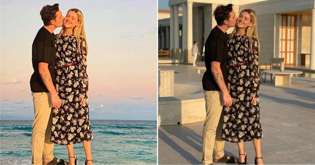 Victoria Beckham's photoshopped image of Brooklyn Beckham and Nicola Peltz at sunset alongside original