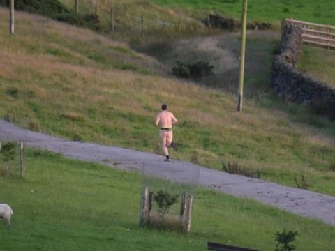 Nude man goes running in just a bum bag and trainers