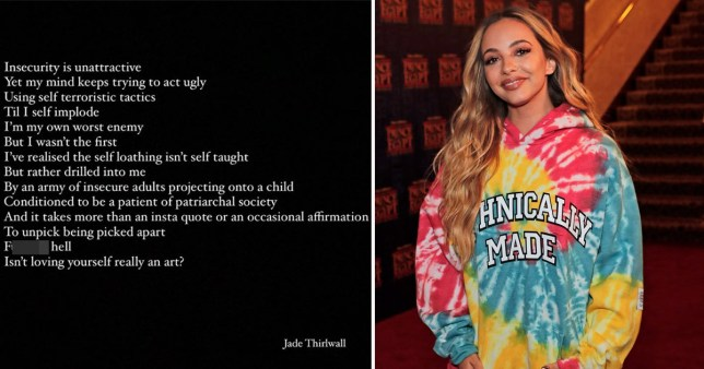 Little Mix star Jade Thirlwall's Instagram post about 'self-loathing'