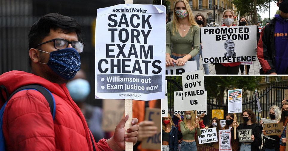 A-level results protests outside Number 10 Downing Street on August 15, 2020