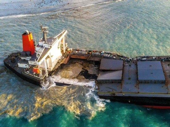 Leaking oil tanker breaks in half spilling remaining fuel into protected waters (Picture: Getty)