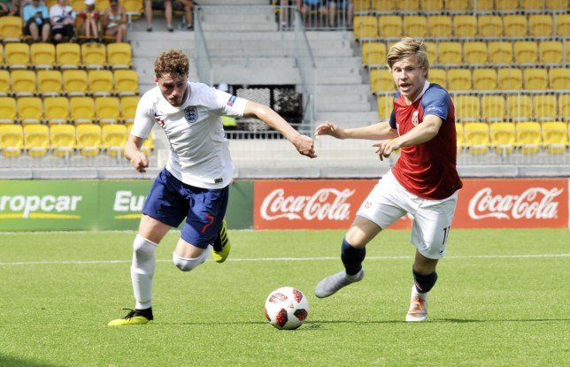 Mandatory Credit: Photo by Juha Harju/REX (9771375h) Elliot Embleton of England vies with Jens Petter Hauge of Norway during the football play-off match Norway vs England for 2019 FIFA U-20 World Cup in Sein?joki, Finland on July 26, 2018. Norway v England, FIFA U20 World Cup Qualifier, Sein?joki, Finland - 26 Jul 2018
