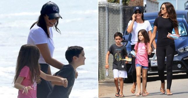 Simon Cowell's girlfriend Lauren Silverman on the beach with their son Eric