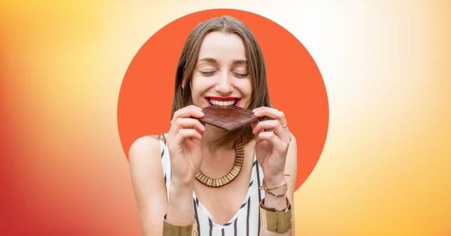 woman eating milk chocolate