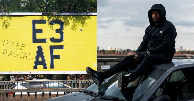 Dizzee Rascal pictured with billboard of new album name E3 AF