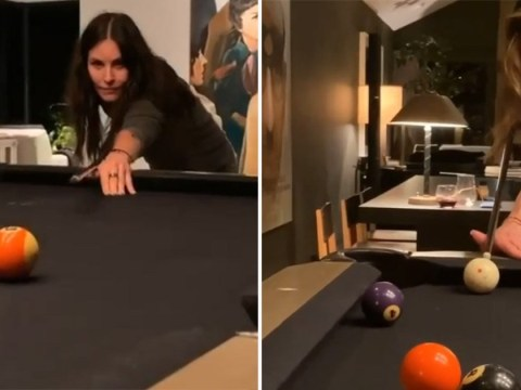 Jennifer Aniston tries her best as she struggles to play pool with best pal Courteney Cox