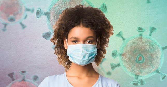 Image of a woman with brown hair wearing a face mask against a COVID-19 close-up of the virus background