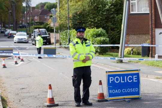 Police at the scene of a road rage incident in Cants Lane, Burgess Hill in Sussex where a man was hospitalised after an argument between two motorists this afternoon (Mon) ***Pic by David McHugh / Brighton Pictures 07768 721637***