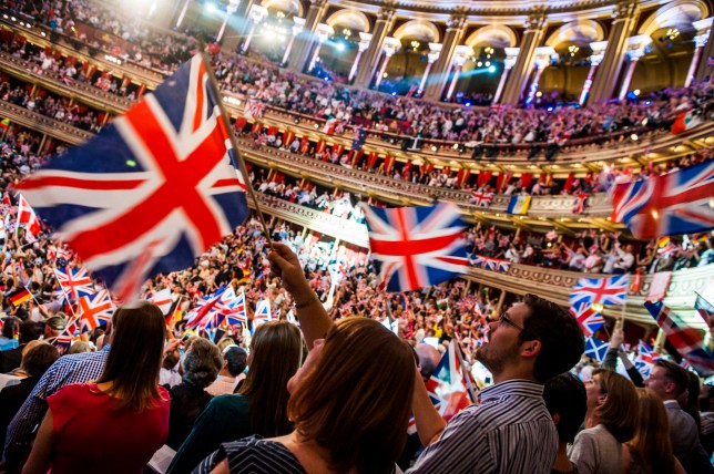 audience enjoying the BBC Last Night of the Proms, at the Royal Albert Hall in London