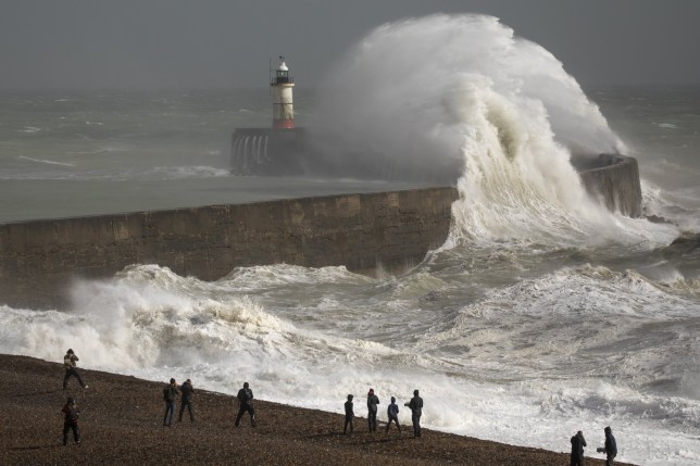 NEWHAVEN, ENGLAND - AUGUST 25: Waves crash against the harbour wall during Storm Francis, on August 25, 2020 in Newhaven, England. The Met Office have issued a yellow weather warning for wind and rain with gusts of 65mph possible inland and 70mph or more possible around coastal areas as Storm Francis passes over the UK. The storm is the second named storm in August and follows Storm Ellen last week. (Photo by Dan Kitwood/Getty Images) *** BESTPIX ***