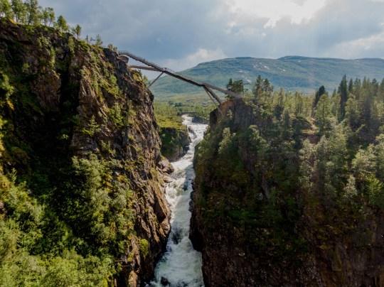 New bridge on Voringsfossen waterfall in Norway