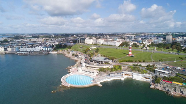 Areal view of plymouth waterfront, Plymouth Hoe, Plymouth Barbican, Smeatons Tower, Plymouth Lido
