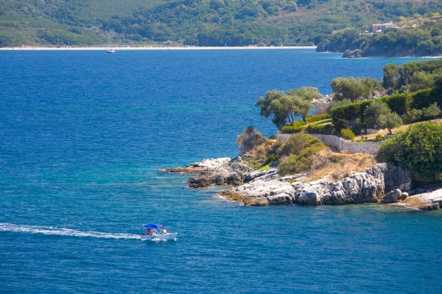 A boat off the coast of Corfu