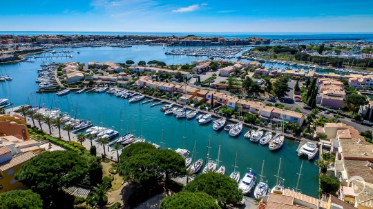 aerial view of the port of Cap d'Agde in France;