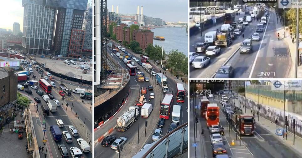 The bridge closure has caused long queues