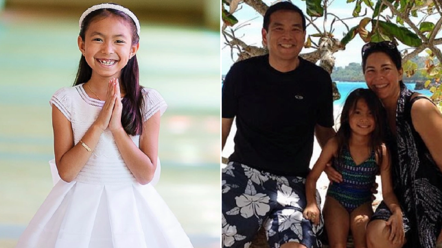 Angela Ng and a photo of her with her dad Kenbian and mother Annabel