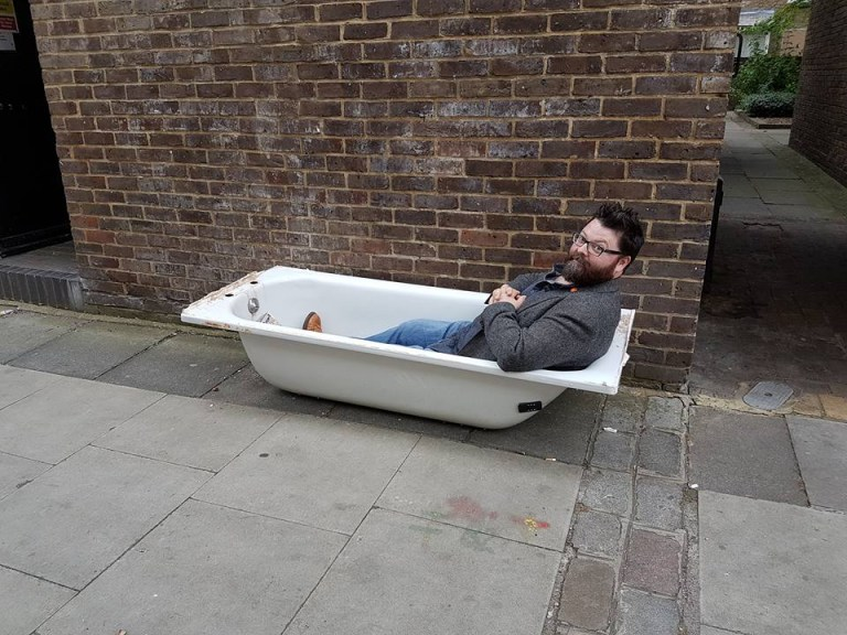Richard Hammond in a bathtub