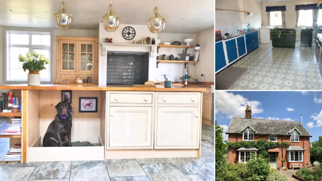The kitchen now; top right, the kitchen before; bottom right, the house