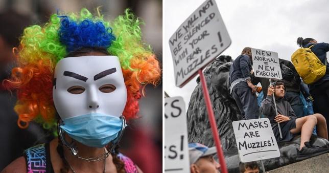Masques faciaux et manifestants
