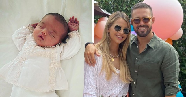 Spencer Matthews pictured with Vogue Williams alongside photo of daughter Gigi sleeping