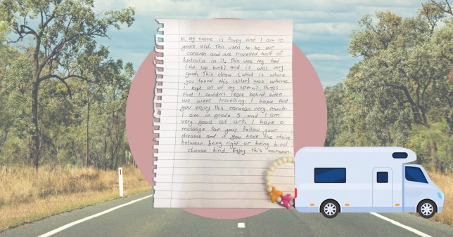 Note in front of caravan illustration