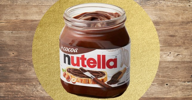 nutella pot on colourful background