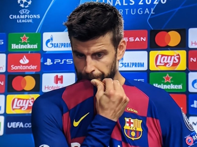Gerard Pique has reacted to Barcelona's 'embarrassing' defeat to Bayern Munich