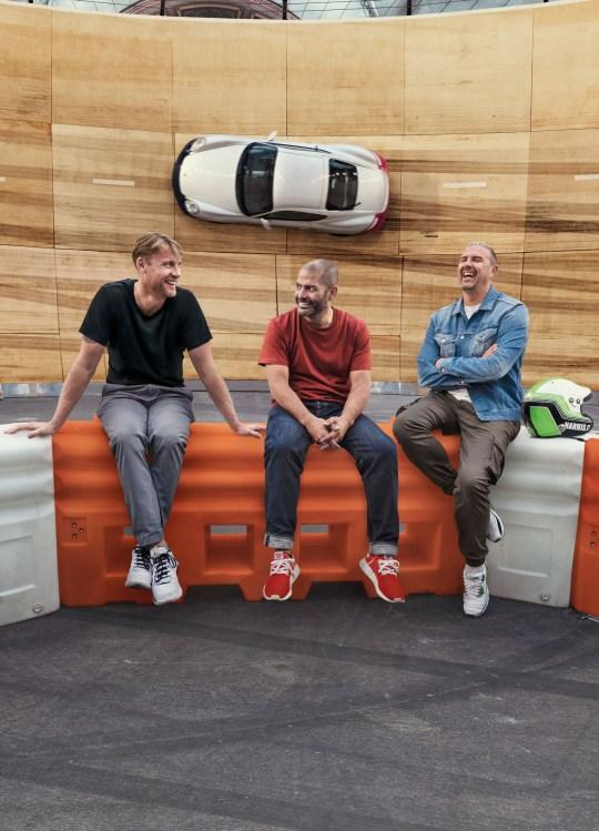 Top Gear presenters Paddy McGuinness, Chris Harris and Freddie Flintoff