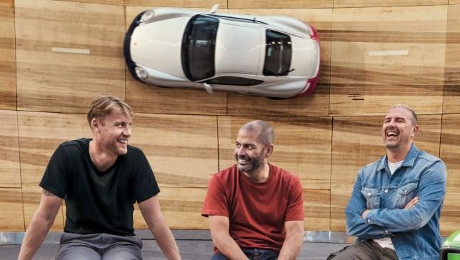 Top Gear presenters Freddie Flintoff, Chris Harris and Paddy McGuinness