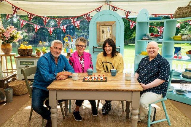 Paul Hollywood, Prue Leith, Noel Fielding, and Matt Lucas in the Bake Off tent.