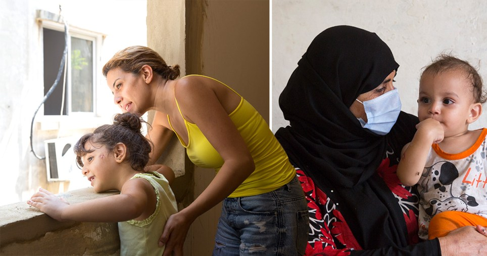 Pictures of the women and children affected by the explosion