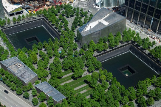 Aerial view of the 9/11 Memorial and Museum on Monday, May 21, 2018.