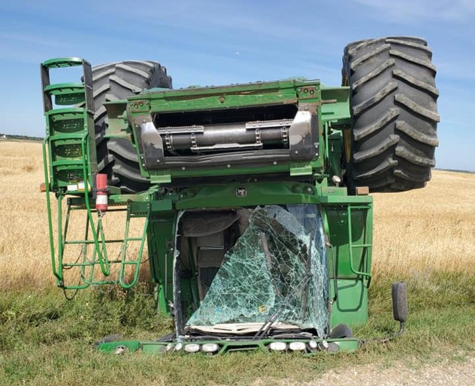 Farmer Michael Carr crashed his combine harvester while on a drunk joyride according to Berthold Police