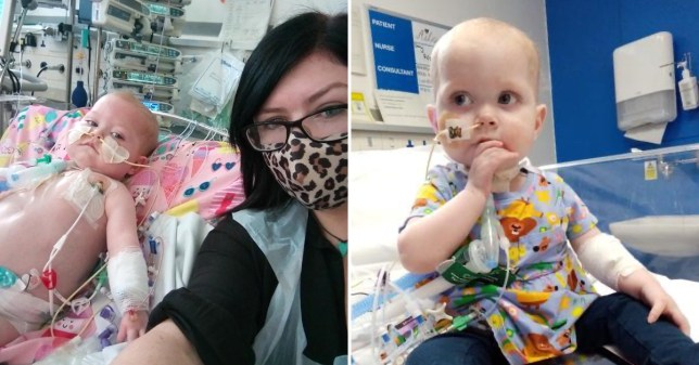 Family camps by bedside of girl, 2, in hospital waiting for a he