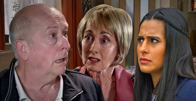 Geoff, Alya and Elaine in Coronation Street