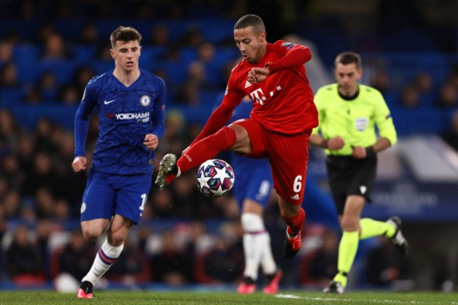 Mason Mount and Liverpool transfer target Thiago Alcantara during Chelsea's Champions League clash with Bayern Munich
