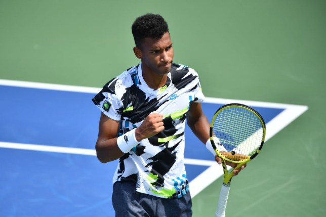 Felix Auger-Aliassime of Canada reacts against Nikoloz Basilashvili of Georgia on Day 3 at the 2020 Western & Southern Open at the USTA Billie Jean King National Tennis Center on August 22, 2020 in the Queens borough of New York City.