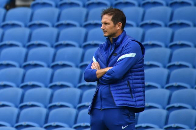 Frank Lampard looks on during Chelsea's pre-season clash with Brighton