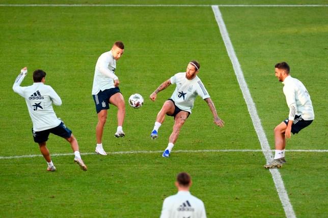 Spain's defender Sergio Ramos in training