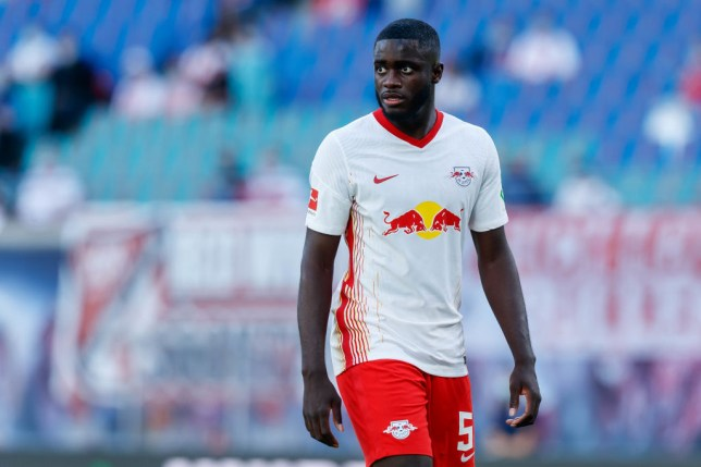 Manchester United transfer target Dayot Upamecano looks on during Leipzig's clash with Mainz