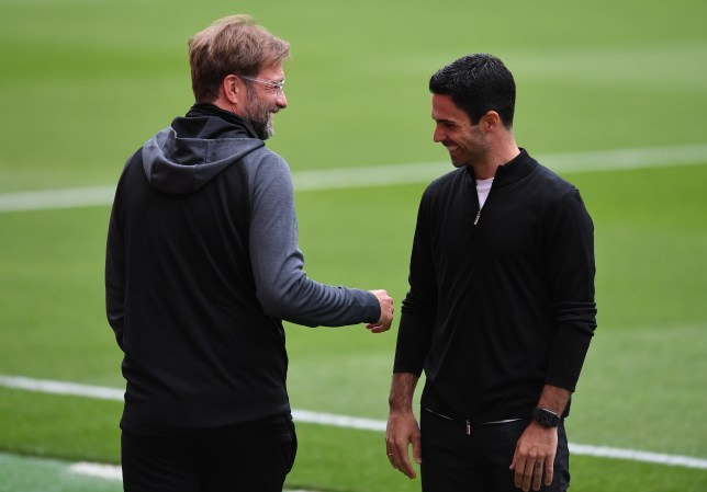 Jurgen Klopp and Mikel Arteta share a joke ahead of Liverpool's Premier League clash with Arsenal