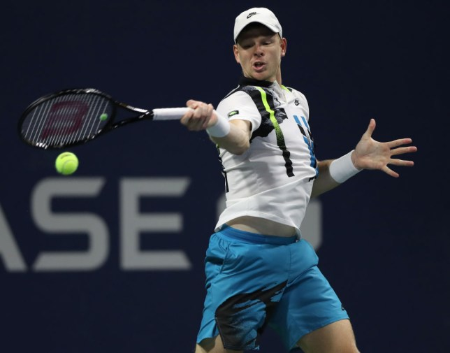 Kyle Edmund of the United Kingdom returns a volley during his Men's Singles round one match against Alexander Bublik of Kazakhstan on Day One of the 2020 US Open at the USTA Billie Jean King National Tennis Center on August 31, 2020 in the Queens borough of New York City.