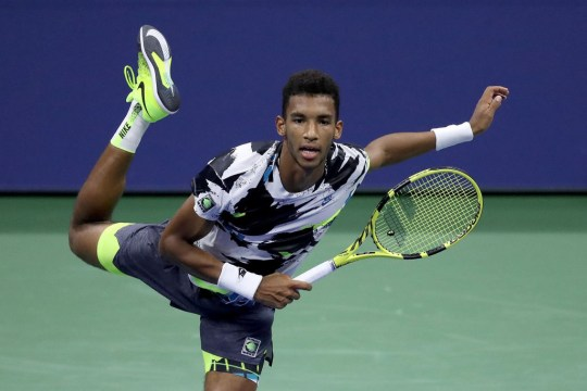 Felix Auger-Aliassime of Canada serves during his Men's Singles second round match against Andy Murray of Great Britain on Day Four of the 2020 US Open at the USTA Billie Jean King National Tennis Center on September 3, 2020 in the Queens borough of New York City.