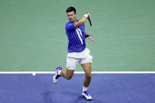 Novak Djokovic of Serbia returns a volley during his Men's Singles third round match against Jan-Lennard Struff of Germany on Day Five of the 2020 US Open at USTA Billie Jean King National Tennis Center on September 04, 2020 in the Queens borough of New York City.