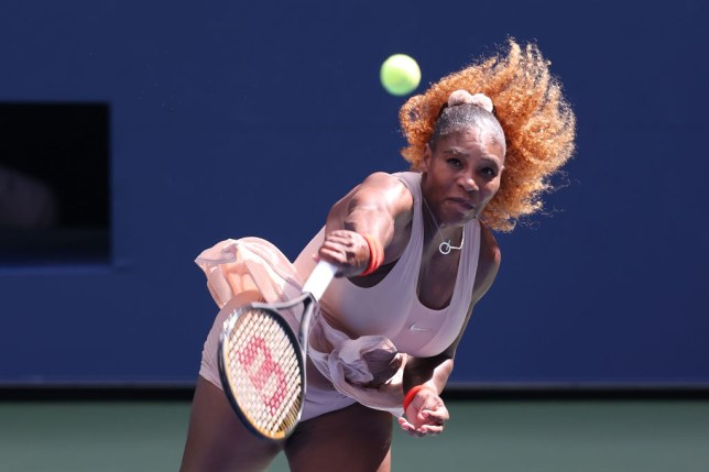 Serena Williams of the United States serves the ball during her Women's Singles fourth round match against Maria Sakkari of Greece on Day Eight of the 2020 US Open at the USTA Billie Jean King National Tennis Center on September 7, 2020 in the Queens borough of New York City.