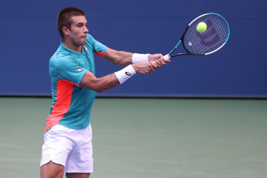 Borna Coric of Croatia returns the ball during his Men's Singles quarterfinal match against Alexander Zverev of Germany on Day Nine of the 2020 US Open at the USTA Billie Jean King National Tennis Center on September 8, 2020 in the Queens borough of New York City.
