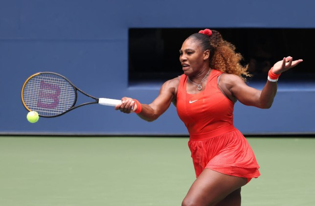 Serena Williams of the United States returns the ball during her Women's Singles quarterfinal match against Tsvetana Pironkova of Bulgaria on Day Ten of the 2020 US Open at the USTA Billie Jean King National Tennis Center on September 9, 2020 in the Queens borough of New York City.