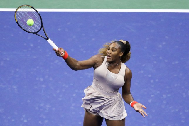 Serena Williams of the United States returns the ball during her Women's Singles semifinal match against Victoria Azarenka of Belarus on Day Eleven of the 2020 US Open at the USTA Billie Jean King National Tennis Center on September 10, 2020 in the Queens borough of New York City.