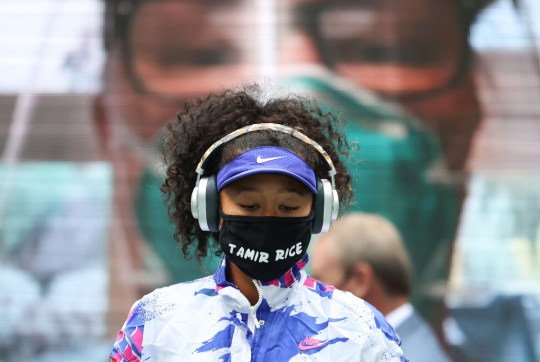Naomi Osaka of Japan walks on court in front of virtual fans before her Women's Singles final match against Victoria Azarenka of Belarus on Day Thirteen of the 2020 US Open at the USTA Billie Jean King National Tennis Center on September 12, 2020 in the Queens borough of New York City.